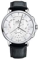 Edox Men's 'Les Bemonts' Swiss Quartz Stainless Steel and Leather Dress Watch, Color:Black (Model: 01602 3 AIN)
