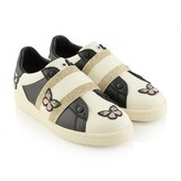 Girls Ivory & Black Leather Butterfly Trainers