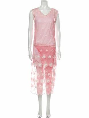 Burberry Lace Pattern Midi Length Dress Pink