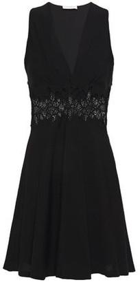Sandro Elena Macrame Lace-paneled Woven Mini Dress