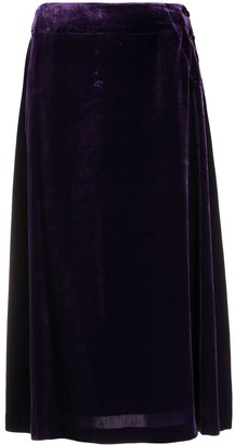 Aspesi Side-Button Velvet Midi Skirt