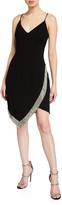 Jovani V-Neck Spaghetti-Strap Short Dress w/ Beaded Trim