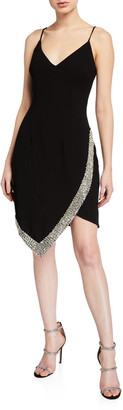 Jovani V-Neck Spaghetti-Strap Short Dress w/ Beaded Trim