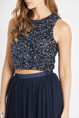 Lace & Beads hand embellished crop top