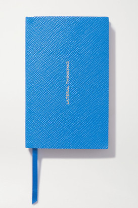 Smythson Panama Lateral Thinking Textured-leather Notebook - Blue