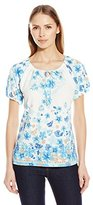Fresh Women's S/Allover Print Keyhole Scoop Neck with CF Ties