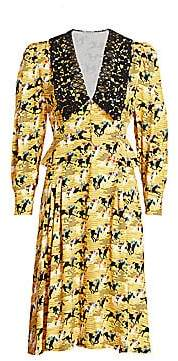 Miu Miu Women's Printed Horses Collared Dress