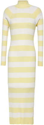 Zimmermann Striped Ribbed-knit Turtleneck Midi Dress