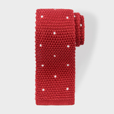 Paul Smith Men's Red Embroidered Dot Knitted Tie
