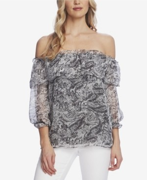 Vince Camuto Women's Tiered Off Shoulder Printed Blouse