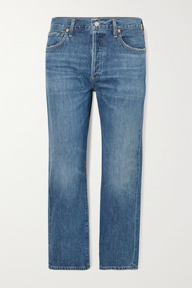 Citizens of Humanity Emery Cropped Organic High-rise Straight-leg Jeans - Dark denim