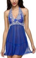 Happy Co. Happy&co Women Halter Lingerie Enchanting Satin Mini Dress Lace Babydoll / L