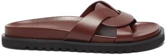 Pedder Red 'CAMILLE' Intertwine Loop Leather Flat Slides
