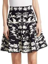 Alexander McQueen Bicolor Jacquard Mini A-Line Skirt