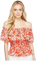 Rebecca Taylor Off the Shoulder Cherry Blossom Top Women's Short Sleeve Pullover