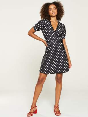 Very Jersey Wrap Tea Dress - Polka Dot