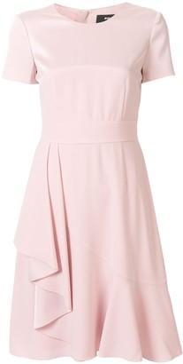 Paule Ka Ruffled Short Sleeve Fitted Dress