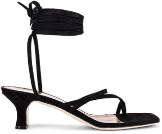 Paris Texas Suede Wrap Sandal in Black | FWRD