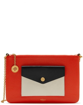 Mulberry Press Stud Large Pouch Coral Orange, Chalk and Black Multi-Colour Silky Calf