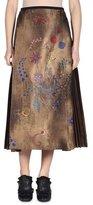 Fendi Botanical Wallpaper-Print A-Line Midi Skirt, Gold/Multi