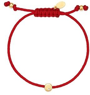Zoe Lev 14K Yellow Gold Red Disc Fortune Diamond Bracelet