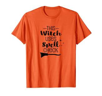 Hungry Dino Design T Shirts This Witch Uses Spell Check Funny Halloween T-Shirt