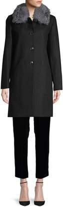 Sofia Cashmere Fox Fur-Trim Wool-Blend Coat