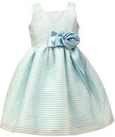 Jayne Copeland Blue Stripe-Overlay A-Line Dress - Toddler & Girls