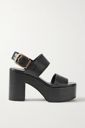 Dries Van Noten Leather Platform Sandals - Black