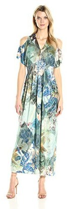 One World ONEWORLD Women's Plus Size Flutter Sleeve Cold Shoulder Printed Maxi Dress
