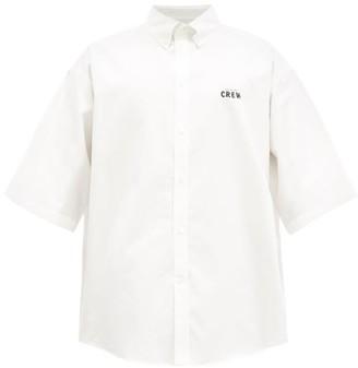 Balenciaga Crew-print Cotton Short-sleeve Shirt - White