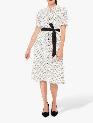 Hobbs Eliza Shirt Polka Dot Knee Length Dress, Ivory/Black