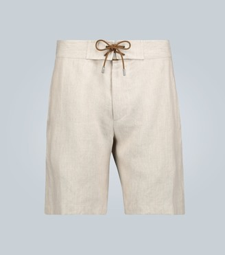 Straight-fit linen shorts