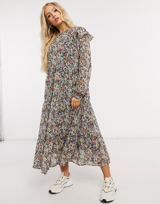 Pieces midi dress with ruffle detail in mixed floral