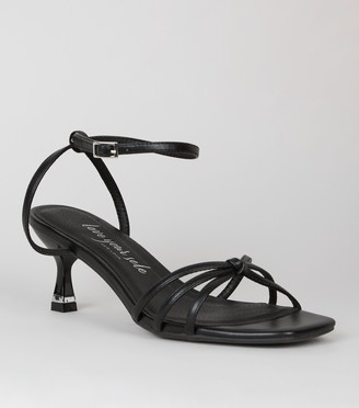 New Look Wide Fit Leather-Look Strappy Knot Heels