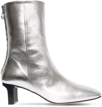 AEYDĒ 55mm Tilly Metallic Leather Ankle Boots