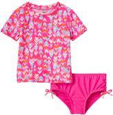 Carter's Toddler Girl Heart Print Short Sleeve Rashguard & Bottoms Swimsuit Set