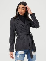boohoo Wrap Belted Faux Leather Jacket - Black