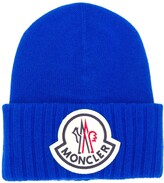 Moncler logo patch beanie