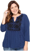 Lucky Brand Plus Size Embroidered Tee Women's T Shirt