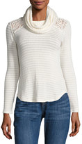 Madison & Berkeley Lace-Inset Cowl-Neck Top, White