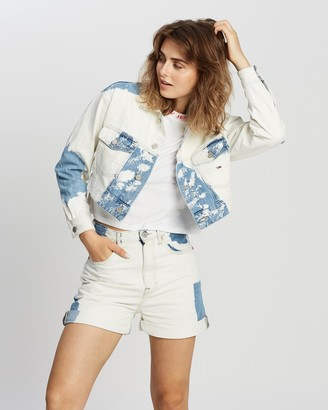 Tommy Jeans Women's White Denim jacket - Extra Cropped Trucker Jacket - Size S at The Iconic