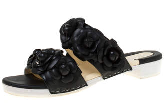 Chanel Black Camellia Leather Double Strap Slide Flats Size 37