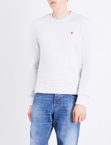 Ami Alexandre Mattiussi Heart-embroidered cotton-jersey sweatshirt