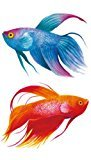 Set of 2 Waterproof Temporary Fake Tattoo Stickers Blue Red Gold Fish Unique Design Body Art