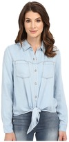 7 For All Mankind Tie Front Denim Shirt in Ibiza Clear Blue