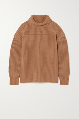 LOULOU STUDIO Parata Ribbed Wool And Cashmere-blend Turtleneck Sweater - Tan