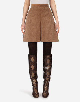 Dolce & Gabbana Short Skirt In Corduroy With Kick Pleat