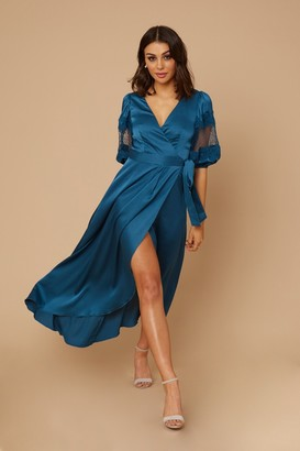 Little Mistress Drew Turquoise Satin Lace Sleeve Wrap Maxi Dress