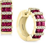 Effy Amoré by Certified Ruby (1-9/10 ct. t.w.) and Diamond (1/5 ct. t.w.) Hoop Earrings in 14k Gold